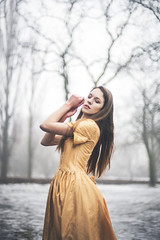 jagoda.09 (guzik_) Tags: winter portrait white mist snow fog fairytale 50mm gold model nikon dress princess magic 50mm14 pole nikkor photosession mistic polishgirl d610 polishmodel
