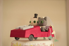 cat and kitty with handmade wooden car Wedding Cake Topper (charles fukuyama) Tags: wedding cute car miniature kitten chat kitty gato  initials lovecat  weddingcaketopper customcaketopper handmadecaketopper catcaketopper kikuike cakedeoration