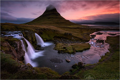In Search of Sunrise (Maciek Gornisiewicz) Tags: morning travel mountain church clouds sunrise canon landscape photography dawn waterfall iceland stream europe filter peninsula kirkjufell maciek 2015 snaefellsnes 1635mm darkelf grundarfjordur insearchofsunrise gornisiewicz 5diii