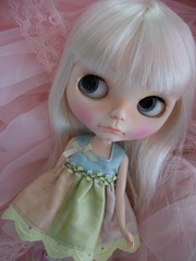 Happy Friday~ (simplychictiques) Tags: pink triangles pretty adorable pastels pout blythe grumpy floss childlike shabbychic customblythedoll pinkpetticoat pamsprettydesignsdress jodiedollscustom ooakblythedoll airbrushfaceup whitehairedblythedoll