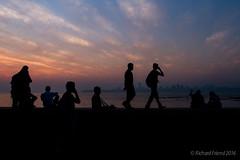 Mumbai Sunset (Rich Friend) Tags: ocean travel light people india evening seaside bombay recreation mumbai