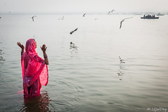 Prayer (ujjal dey) Tags: morning pink india streets fog lady river prayer varanasi ritual gesture hindu ablution ganga benaras oldestcity ujjal ujjaldey