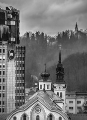 Ljubljana (Miha Pavlin) Tags: city winter sky blackandwhite bw church capital dramatic slovenia rainy ljubljana slovenija