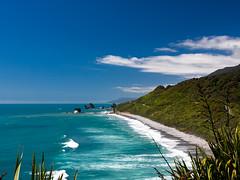 Shades of Blue (and some green) (Saaliahc) Tags: ocean blue newzealand sky green beach nature water landscape landschaft neuseeland omdm5