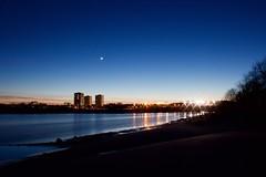 Moon Over Seaton (Bob Bain1) Tags: nature canon landscape lights scotland twilight dusk aberdeen riverdon grampian donmouth