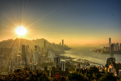 Sunset at Victoria Harbour from Braemar Hill, Hong Kong (philipchan32866) Tags: sunset sky sun sunlight sunshine skyline buildings landscape hongkong evening warm afternoon bright harbour top hill warmth brightness height overview