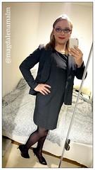 Ready for a evening meeting #work (magdalena_m) Tags: stockings work glasses dress makeup swedish pearls transgender nails jacket tranny blonde transvestite heels trans mtf maletofemale transgirl