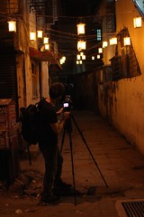 Josh taking photos of the alley (olive witch) Tags: light india male night outdoors alley photographer january bombay mumbai passage bandra 2016 jan16 abeerhoque