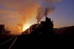 A Day With OC 1293: 2 (craigsanders429) Tags: sunrise steamtrain steamtrains passengertrains steamlocomotives pennsylvaniarailroad passengercars sunrisephotography ohiocentralrailroad excursiontrains ohiocentral1293 steamexcursions canadianpacific1293