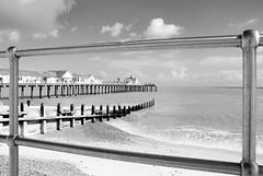 Southwold Pier (LRO_1) Tags: greatbritain sea england blackandwhite monochrome coast blackwhite suffolk nikon unitedkingdom northsea southwold d60 blackandwhitephoto nikond60 blackwhitephotos camerabag2