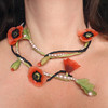 Poppy Love Necklace asymmetrical (CreateMyWorldDesigns) Tags: flower necklace wire polymerclay poppy poppies romantic remembrance challenge polymer neckpiece pcagoe