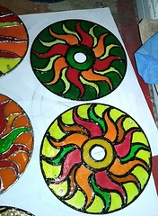suncatcers (18) (~Mischa) Tags: design colorful paint circles patterns stainedglass suncatcher hanging projects windchimes cdart puffypaint glassstain plasticspheres liquidleading