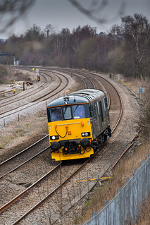 Out on test.  Class 73/9 No 73970 at Clay Cross en-route to Derby on 22-03-2016