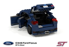 Ford Focus Mk3 ST (C346MCA 2015-Present) (lego911) Tags: auto ford car st model focus lego render company turbo motor hatch cad hatchback povray 5door c1 recaro moc mkiii mk3 ldd 2015 miniland 5dr 2010s ecoboost lego911 c346 c346mca