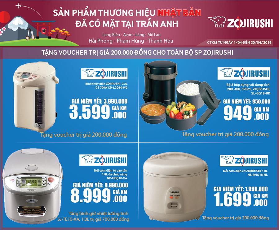 Zojirushi – Sản phẩm thương hiệu Nhật Bản đã có mặt ở Trần Anh