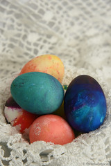 Colored Eggs (EternallyRose) Tags: easter depthoffield eggs doily eastereggs coloredeggs doilie dyedeggs nikond750 afsnikkor24120mmf4gedvrlens