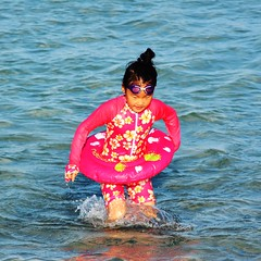 Cute Swimming (Billy W Martins ) Tags: ocean pink sea usa cute beach girl swimming fun nikon florida sweet miami swimmer float miamibeach japonese poolfloat southmiamibeach d7100 cuteswimming