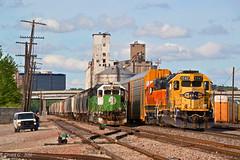 "BNSF And NS Trains in North Kansas City, MO (""Righteous"" Grant G.) Tags: santa city railroad west yard train power ns north norfolk railway trains automotive bn southern missouri kansas locomotive local fe bnsf westbound manifest emd atsf"