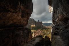 ravine (Rainer Schund) Tags: schweiz nikon natur wolken berge ravine fels sandstein schlucht felsen schsische hhenangst kuhstall klamm fernsicht platzangst nikond700 naturemasterclass natureexploring