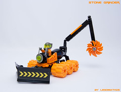 01_Stone_Grinder (LegoMathijs) Tags: orange black stone saw lego crane space wheels scifi dozer blade grinder miner unit drilling driller moc foitsop legomathijs
