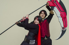 """3/25/16 - Boston, MA - Attendees cosplaying characters from """"RWBY"""" pose at fan convention Anime Boston in the Hynes Convention Center on Friday, Mar 25, 2016. (Ray Bernoff / The Tufts Daily) (consolecadet) Tags: anime boston cosplay convention prudentialcenter cosplayers scythe animeboston animecon animeconvention rubyrose hynesconventioncenter rwby"""