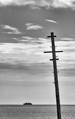 A View of the Firth of Clyde from Portencross, 14 April 2016, 13:41 (Dr John2005) Tags: blackandwhite monochrome landscape scotland ship negativespace ayrshire portencross firthofclyde westkilbride silverefexpro