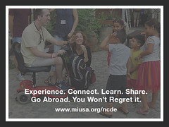 Experience - Connect - Learn - Share - Go Abroad - You Won't Regret it www.miusa.org - photo of American guy in scooter interacting with Cypriot children on the street (Mobility International USA) Tags: infographics experiential