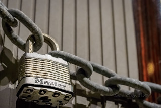 Closeup of padlock and chain