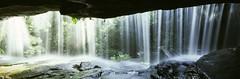 Sanctuary (rubberducky_me) Tags: light panorama sun green film water forest waterfall rainforest australia velvia nsw linhof rays centralcoast linhoftechnorama617iiis