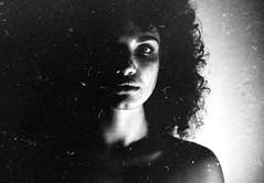 ... (Marlena F.) Tags: life light shadow portrait blackandwhite bw woman film beautiful beauty analog hair photography lights eyes women minolta young surreal curls portrt analogical filmlove