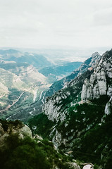 looking down from montserrat. (Barbs--) Tags: mountain film nature analog landscape spain view hiking climbing valley montserrat leicam6 intothedistance trailblazing voigtlndernokton voigtlnder50mmf14