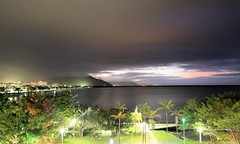 Night over Cairns (i_divo) Tags: ocean longexposure sunset sky seascape mountains clouds canon palms landscape outdoor shoreline australia pacificocean queensland bluehour cairns themarina 2015 shangrilahotel 5dmkiii photosbymch