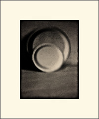 2 plates (Bob R.L. Evans) Tags: abstract circles curves minimalism sepiatone stilllifeplates ipadphotography