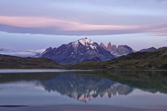 Paine Grande Reflection (surfneng) Tags: chile park sky patagonia mountain lake snow reflection southamerica water clouds sunrise torresdelpaine painegrande lagunaamarga