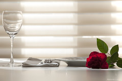 AHS_table05 (alexander h. schulz) Tags: shadow red roses food sun sunlight white love glass table design dish drink interior napkin knife lifestyle fork shutter overexposed chic wineglass elegant minimalism leafs noble serviette roseleafs singleglas