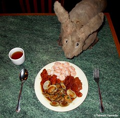 Dr. Takeshi Yamada and Seara (Coney Island sea rabbit) at the Queens Buffet Chinese restaurant in Queens, New York on April 17, 2016. 20160417. DSCN5041==C. shrimps, general Tao's chicken, beef, baby clams (searabbits23) Tags: ny newyork sexy celebrity rabbit art hat fashion animal brooklyn sushi asian coneyisland japanese star restaurant tv google king artist dragon god manhattan famous gothic goth uma ufo pop taxidermy vogue cnn tuxedo bikini tophat unitednations playboy entertainer oddities genius mermaid amc mardigras salvadordali performer unicorn billclinton seamonster billgates aol vangogh curiosities sideshow jeffkoons globalwarming mart magician takashimurakami pablopicasso steampunk damienhirst cryptozoology freakshow seara immortalized takeshiyamada roguetaxidermy searabbit barrackobama ladygaga climategate  manwithrabbit