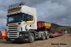 MACDIARMID SCANIA R620 V8 EU57 HLP (denzil31) Tags: wind farm v8 trailers scania macdiarmid stgo heavyhaulage hlp r620 faymonville eu57 stgocat3 corriegarth