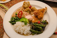Chef Alex Ong 4/19-4/20/16 (UMassDining) Tags: chicken alex beans rice plate chef presentation guest ong