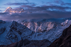 First Light (Maddog Murph) Tags: nepal light sky snow ice clouds big glow ngc first peak glacier alpine kathmandu himalaya aspen tops himalayas himalayan illuminate manaslu