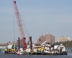 Floating Crane Barge, Cable Laying beneath the Hudson River, Edgewater, New Jersey (jag9889) Tags: usa water river boat newjersey ship unitedstates crane outdoor unitedstatesofamerica nj vessel cable hudsonriver barge edgewater waterway gardenstate 2016 bergencounty floatingcrane 07020 zip07020 weeksmarine jag9889 20160421