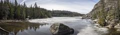 Talus Lake Panorama (muradjafari) Tags: trees sky lake reflection nature outdoors spring rocks cedar spruce thaw talus