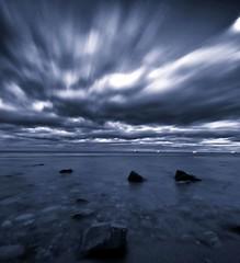 Blackdog Beach, Aberdeenshire (PeskyMesky) Tags: longexposure sea sky cloud monochrome canon landscape aberdeenshire aberdeen northsea cloudscape northeastscotland canoneos500d blackdogbeach