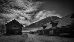 Full Moon Night in the Mountains (Robert Bauernhansl) Tags: winter mountains night clouds barn nacht wolken fullmoon berge alm vollmond scheune