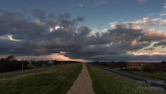 DSC_6639_Lr-edit (Alex-de-Haas) Tags: light sunset reflection netherlands clouds landscape fire licht zonsondergang nederland thenetherlands wolken dyke dijk dike landschap noordholland vuur reflectie petten coastalarea spreeuwendijk kunstgebied