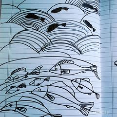 making_of_Fruehlingspost2016_0971.jpg (KristinaMariaS) Tags: screenprinting patterndesign handprintedfabric fishpattern amliebstenbunt kristinaschaper