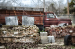 Custom Cab (Anne Worner) Tags: old window lensbaby truck texas bricks tire historic hood load doorhandle granger cementblocks dumped corrugatedmetal customcab d7000 nikond7000 anneworner velvet56 f620customcab