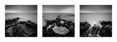 Dark rocks (Mathieu Calvet) Tags: longexposure sea mer square pentax tripod capdagde triptyque 1224 carr k3 languedocroussillon hrault poselongue plagedumle da1224