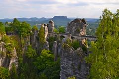 Bastei, Schsische Schweiz (echumachenco) Tags: bridge summer panorama rock germany deutschland sandstone view saxony july sachsen pillars monoliths bastei lilienstein schsischeschweiz elbsandsteingebirge saxonswitzerland nikond3100