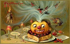 Happy Surreal Halloween (Alan Mays) Tags: ephemera postcards greetingcards greetings cards paper printed halloween holidays october31 jackolanterns pumpkins witches women broomsticks brooms witchhats hats clothes clothing cats blackcats animals devils imps reddevils pitchforks children girls boys tables desserts food smiling grinning creepy scary anthropomorphic anthropomorphism surreal humor humorous funny comic borders illustrations orange red 1910s antique old vintage typefaces type typography fonts raphaeltucksons raphaeltuck tuck postcardpublishers 150 series150 postcardseries