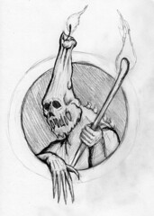 Fiend of the Candlemas (ashley russell 676) Tags: monster pencil fire candle drawing goblin demon fiend candlemas